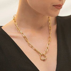 NEW 18K Gold Plated Diamond Heart Link Chain Necklace